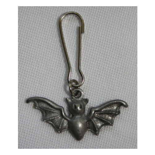 pewter bat zipper pull